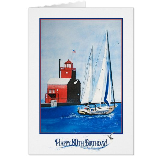Nautical 80th Birthday Card