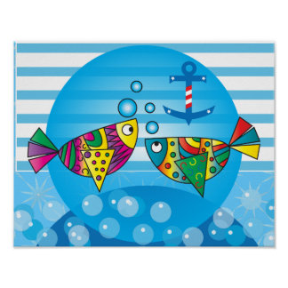 Nautical Abstract Colorful Fish Design Poster