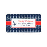 """Nautical Address Labels<br><div class=""""desc"""">These nautical address labels are part of the &quot;Ahoy,  It&#39;s a Boy!&quot; baby shower set.  In blue and red,  they have an anchor motif.  You can personalise the text. More matching items are available in the Glam To Jam store.</div>"""