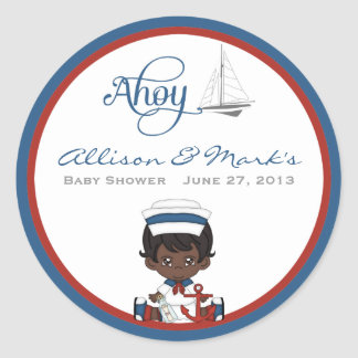 Nautical African American Baby Shower Stickers