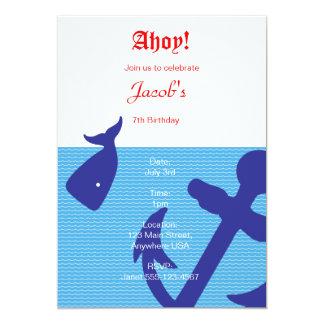 """Nautical """"Ahoy"""" Birthday Invitation"""