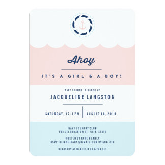 Nautical Ahoy Girl Boy Twins Baby Shower Invite