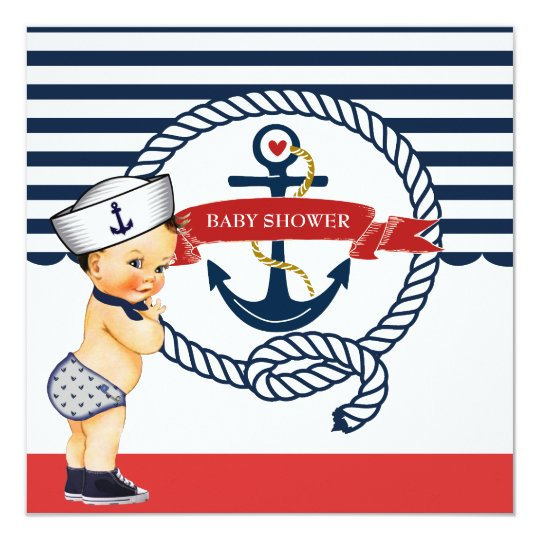 nautical ahoy it's a boy baby shower invitation | zazzle, Baby shower invitations