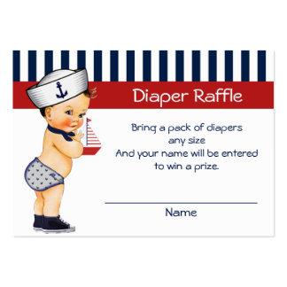 Nautical Ahoy It's a Boy Diaper Raffle Insert Large Business Card