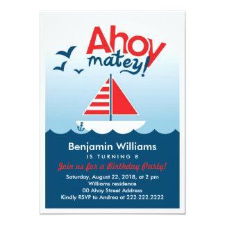 """Nautical Ahoy Matey Birthday Party Invite 5"""" X 7"""" Invitation Card"""