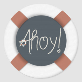 Nautical Ahoy Rope Text & Lifesaver Stickers
