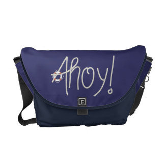 Nautical Ahoy Rope Text with Lifesaver Commuter Bags