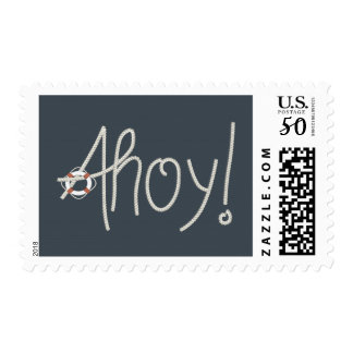 Nautical Ahoy Rope Text with Lifesaver Postage