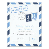 "Nautical Airmail Card Save the Date 4.25"" X 5.5"" Invitation Card"