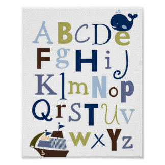 Nautical Alphabet Nursery Wall Art Print