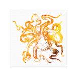 Nautical amber octopus canvas print