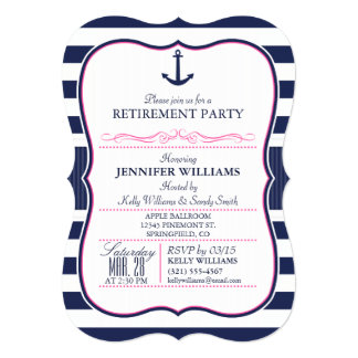 Nautical Ancho;l Navy & Pink Retirement Party Card