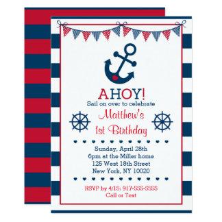 Nautical Anchor 1st Birthday Card