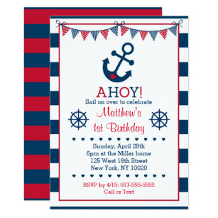 Nautical Birthday Invitations Announcements Zazzle