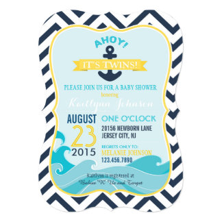 Nautical Anchor and Chevron Baby Shower Invitation