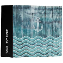 Nautical Anchor and Chevron Pattern on Wood 3 Ring Binder