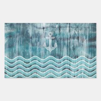 Nautical Anchor and Chevron Pattern on Wood Rectangular Sticker