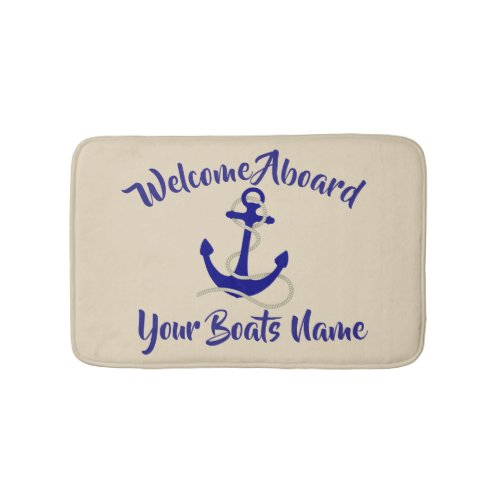 Nautical anchor and custom boat name bath mat