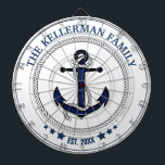 """Nautical Anchor and Family Name Custom Dart Board<br><div class=""""desc"""">Classy,  trendy,  nautical theme with your family name and date established.</div>"""