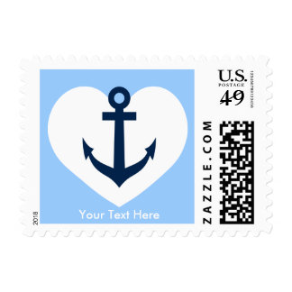Nautical anchor and heart wedding stamps