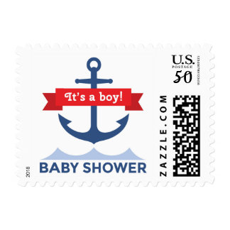 Nautical anchor and red banner boy baby shower postage
