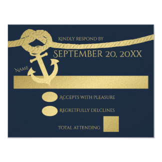 Nautical Anchor and Rope Gold and Blue Card