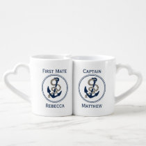 Nautical Anchor And Rope In Blue And White Coffee Mug Set
