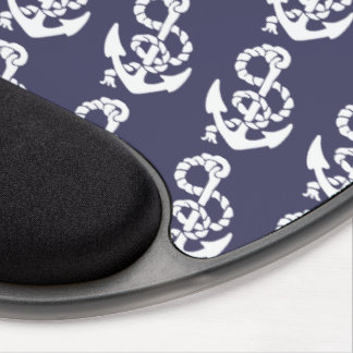 Nautical Anchor And Rope In Blue And White Gel Mouse Pad