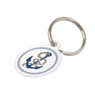 Nautical Anchor And Rope In Blue And White ID Name Pet Name Tag
