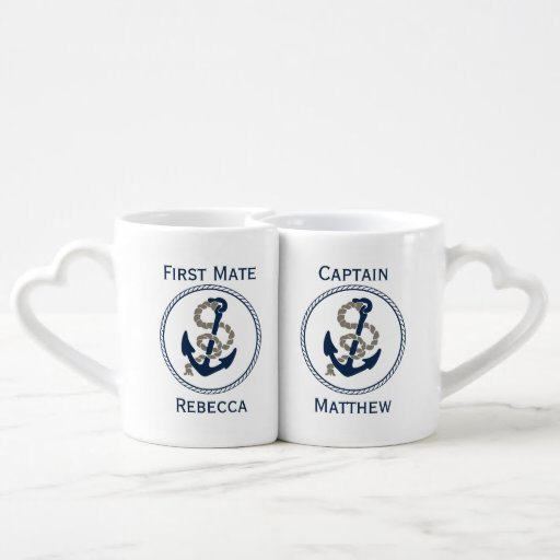 Nautical Anchor And Rope In Blue And White Lovers Mug Set