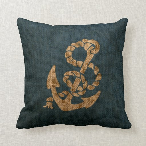 Deep Blue Throw Pillows : Nautical Anchor and Rope in Deep Sea Blue Throw Pillow Zazzle
