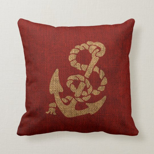Colorful Rustic Throw Pillows : Nautical Anchor and Rope in Rustic Red Throw Pillow Zazzle.com