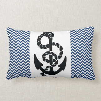 NAUTICAL /ANCHOR AND ROPE,NAVY BLUE WHITE CHEVRONS LUMBAR PILLOW