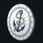 "Nautical Anchor And Rope Sailing Themed Dart Board<br><div class=""desc"">Nautical Anchor And Rope Sailing Themed products in blue and white from Ricaso</div>"