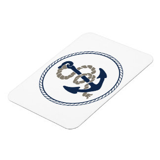 Nautical Anchor And Rope Sailing Themed Rectangular Photo Magnet