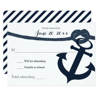 Nautical Anchor and Rope Wedding Response Dark Card