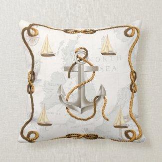 Nautical Anchor and Sailboats Throw Pillow