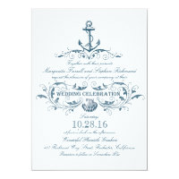 nautical anchor and seashell beach wedding invites