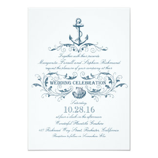 vintage anchor wedding invitations & announcements | zazzle, Wedding invitations