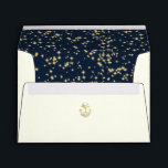 """Nautical Anchor and Starry Sky Navy Blue Envelope<br><div class=""""desc"""">Ivory envelope with gold anchor accent and midnight twinkle stars design inside.  Navy blue and gold inside to compliment matching wedding invitation set.  Personalize return address on back flap.</div>"""