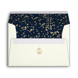 Nautical Anchor and Starry Sky Navy Blue Envelope