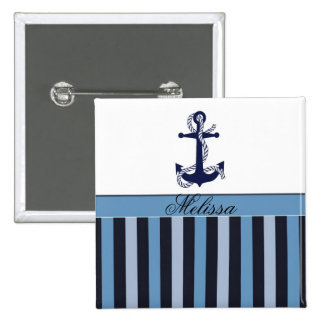 Nautical Anchor and Stripes Blue Button