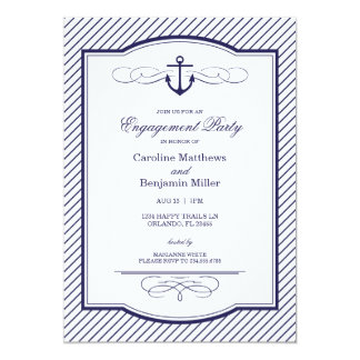Nautical Anchor and Stripes Engagement Party 5x7 Paper Invitation Card
