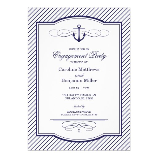 Nautical Anchor and Stripes Engagement Party Invitations