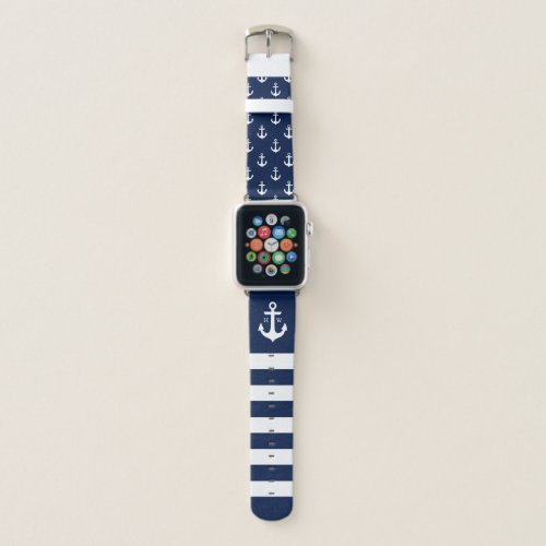 Nautical Anchor and Stripes Monogram Apple Watch Band