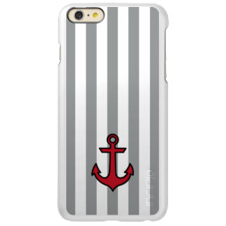 Nautical Anchor and Stripes - Red Black Gray Incipio Feather Shine iPhone 6 Plus Case