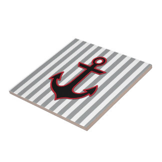 Nautical Anchor and Stripes - Red Black Gray Tiles