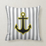 Nautical Anchor and Stripes - Yellow Black Gray Throw Pillow