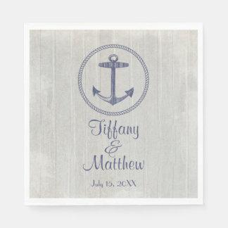 Nautical Anchor and Weathered Personalized Wedding Napkin