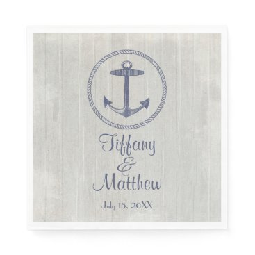 Beach Themed Nautical Anchor and Weathered Personalized Wedding Napkin